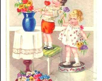 VINTAGE Postcard - CHILDREN, Vase with Flowers - Any SAINTDAY 's Greetings - designed colorful Print - Humor - slight marks on right edge