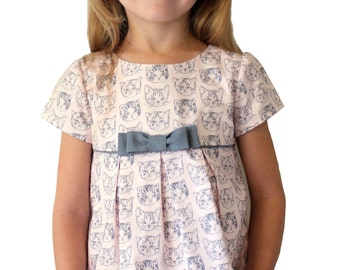 """The """"Mia and Moi"""" Pattern, little girl's DRESS pattern OR girl's BLOUSE pattern, sewing pattern, sized to fit ages 3-8"""