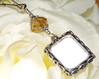 Wedding bouquet photo charm. Topaz crystal Bridal bouquet charm. Memorial picture charm. Bridal shower gift. Birthstone Gift for the bride.