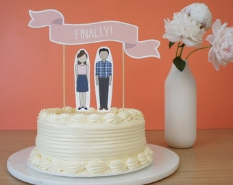 Personalized Wedding Shower Cake Topper | Engagement Party Cake Topper | Bridal Shower Cake Topper | Wedding Shower Decoration