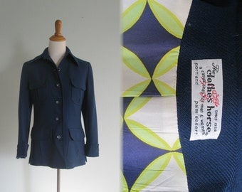 Chic 60s Blue Shirt Jacket by The Clothes Horse - Vintage Blue Wool Mod Jacket with Cute Lining - Vintage 1960s Jacket S M