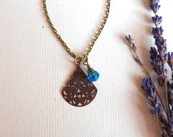 Vintage Style Blue Raindrop Crystal Necklace, Antiqued Brass Charm Necklace, Copper Teardrop Pendant, Handmade Jewelry Gifts by HoneyNest
