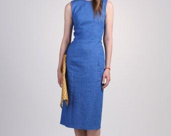 Stretch Denim Sheath Dress, Sleeveless Denim Dress, Slim Dress, Midi Dress, Day Dress, Sexy Dress, Summer Dress -  Blue Denim