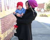 Baby/Toddler Slouch Beanie Hat w/matching boot cuffs RED size 12 months - 2T, Ready-to-Ship