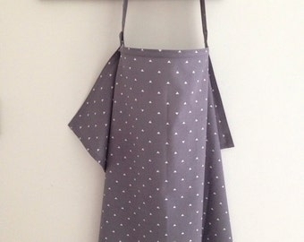 Nursing Cover Up in Grey Triangles, Breastfeeding Cover Triangle Pattern in Charcoal Gray