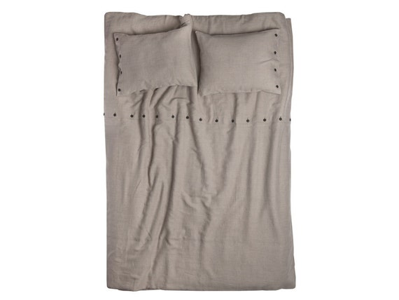 Linen duvet cover with buttons Queen size King size Double size Twin or Full size natural linen bedding Earth grey color