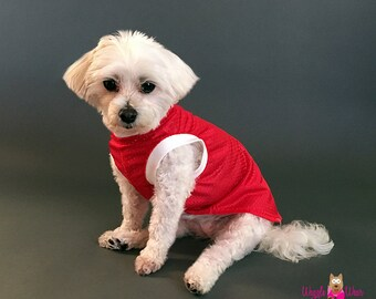 Red Sleeveless Dog T Shirt, Red Jersey Mesh Dog Tank Top