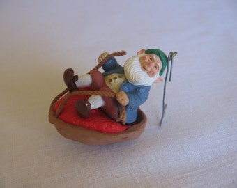 "Vintage Hallmark Elf Ornament, ""Walnut Shell Rider"", Vintage 1986"