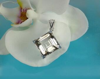 Herkimer Diamond, Herkimer Jewelry, Square Pendant, Gemstone Pendant, Aquamarine Pendant, Square Gemstone, Herkimer Pendant, Unique Gemstone