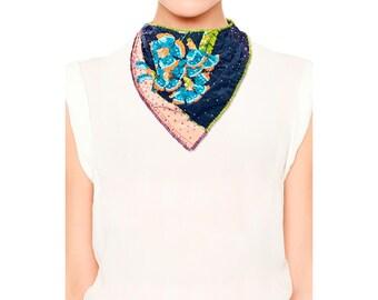 Beaded Bandana silk scarf necklace Scarf jewelry Beadwork Loom flower leaves Large Bib necklace Beaded Scarf Big Necklace Neckerchief Beads
