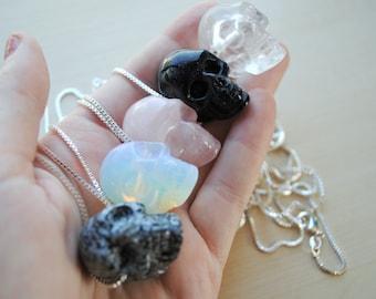 Crystal Skull Necklace -- Skull Pendant -- Stone Skull -- Healing Stones -- Boho Chic -- Skull Jewelry -- Quartz Skull