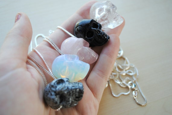 Crystal skull necklace skull pendant stone skull like this item mozeypictures Images