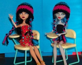Hat for Monster High Doll in School Colors Pink, Black and Blue