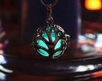 Tree of life LOCKET with 1 glass bubble GLOW in the DARK