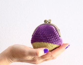 Purple coin purse, crochet coin purse, retro coin purse, kiss lock purse, color block coin purse, the Purple Keeper, in purple and golden