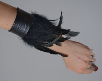ON SALE Feather Leather Cuff Bracelet - Black Leather Cuff Bracelet - Leather Feather Cuff - Festival Accessories - Burning Man