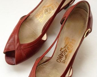 1970s Ferragamo Pumps Oxblood Thin Straps 6 1/2B