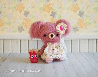 amigurumi bear plush, kawaii crochet fuzzy rose pink bear, dark pink chibi totoro