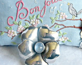 Vintage Arts And Craft  Sterling Silver Pansy Blue Moonstone Brooch