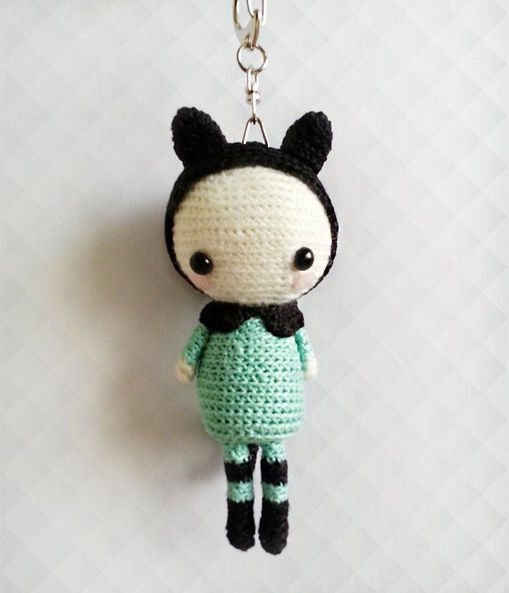 Crochet Keychain : Crochet Doll Keychain, Crochet Amigurumi Doll, Mint Plush Doll ...