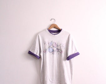 Faded Flowers 90s Ringer Tee
