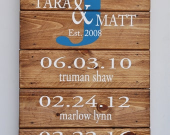 Mother's Day Gift, Family Sign, Custom Wood Sign,What a Difference a Day Makes, Important Dates, 5th Anniversary Gift, Wood Last Name Sign