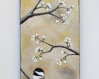 Chickadee painting, neutral decor, acrylic painting, bird in branches, tan and brown, original art, white blossoms,fine art