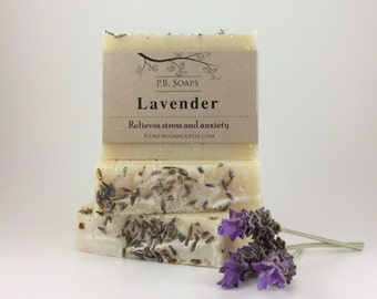 Lavender soap - cold process, artisan soap, all natural, handcrafted, large bar, nourishing and relaxing.  Relieve stress naturally