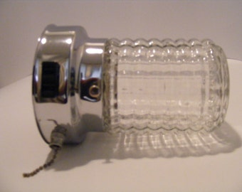 1960's Pressed glass light fixture with chain and electrical outlet