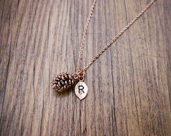 pinecone necklace, Personalized initial necklace, initial jewelry,Rose Gold Pine Cone Necklace, Pink Pine Cone Necklace, christmas gift