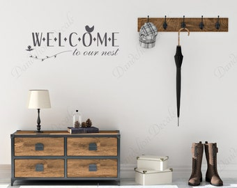 Welcome to Our Nest Sign - Entryway Decor - Our Nest Decal - Entryway Welcome - Welcome Sign