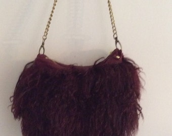 Burgandy Mongolian Lamb Fur Leather Shoulder Bag Purse Ipad Carrier
