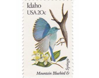 10 Unused Vintage Postage Stamps - 1982 20c Idaho - Mountain Bluebird & Syringa - Item No. 1964