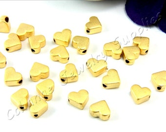5 pcs Gold Heart Charms, (7mm x 6mm) Gold Heart Beads, 24k Matte Gold Plated Heart Charms, Gold Heart Charms / GPY-155