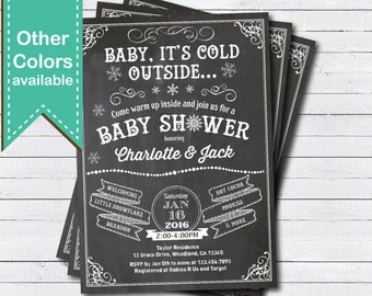 Winter baby shower invitation. Retro chalkboard Baby it's cold outside snowflake gender neutral couple baby shower digital invite XB06