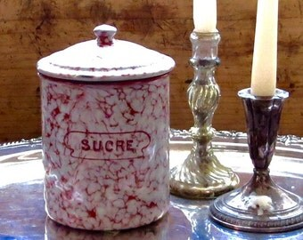 Vintage French Enamel Sugar Canister, Graniteware Sucre Jar, Red Swirl Pattern, Enamelware, Snow on the Mountain, Storage, Farmhouse Decor