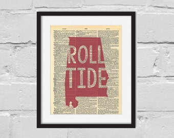 Alabama Print. Dictionary Art Print. Roll Tide.