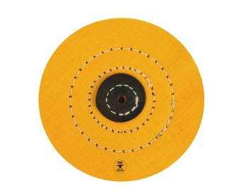 """5"""" x 40 Folds Stitched Yellow Muslin Buffs Jewelry Metal Finishing Polishing Tool - POL-0086"""