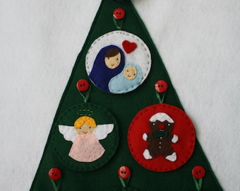 Whimsical Advent Christmas Countdown Calendar PDF! Make this Lovely Felt Christmas decor for your home! Holiday Tree & 25 ornaments