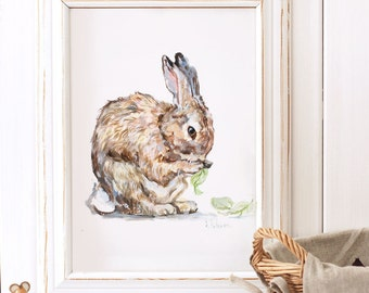 Bunny Art Print, Bunny Painting, Giclee Print,Nursery Art ,Archival art print, Nursery decor, Bunny art, Rabbit art print