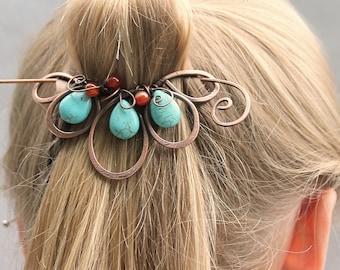Blue Boho Hair Clip, Beaded Hair Barrette, Turquoise Hair Jewelry, Flower, Hair Slide, Copper Hair Pin,  Hair Accessories for Women Gift