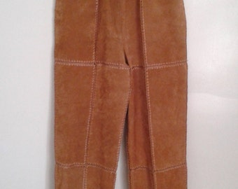 Vintage Women's Tan Suede Crocheted Patchwork Pants Sz 6 Hippie Boho