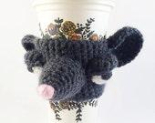 Crochet Wool Rat Coffee Cozy - Crochet Cup Cozy - Coffee Cup Warmer - Unique Cup Cozy - Rat Coffee Sleeve - Tea Cup Cozy - Reusable Cup Cozy