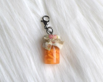 Peach Jam Jar Charm; Cute Miniature Food Jewelry Necklace