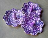 SALE  THREE Ceramic Lotus Ring Holder Bowls Purple edged in gold