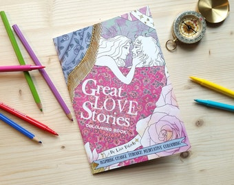 Great Love Stories Coloring Book for Adults  | Romantic adult coloring book for grown ups, girlfriend gift, romantic gift | by Meluseena