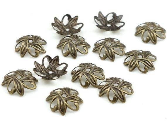 72 Antique Brass Bead Caps Brass Beadcaps 10mm Petal Filigree Vintage Style Bronze Bead Caps Jewelry Beads for Jewelry Making  (FSAB77)