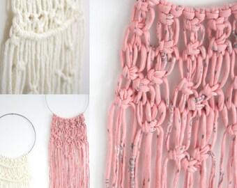 Macrame Hoop Wall Art \ pink