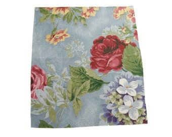 "13"" x 11.5"" Vintage Piece of Scrap Upholstery Fabric - Large Floral Print on Textured Blue Background"