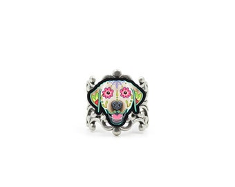 Labrador in Yellow Ring - Day of the Dead Sugar Skull Dog Adjustable Ring